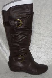womens boots yuu yuu s boots sheldon slouch wedge brown faux