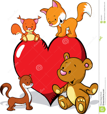 cute animals cartoon with valentines heart royalty free stock