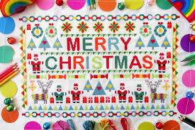 polka spots freckle dots merry christmas patchwork cross
