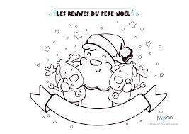 Coloriage de Noël  le Père Noël et ses rennes  Momesnet