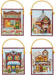 dimensions winter village christmas ornaments cross stitch kit