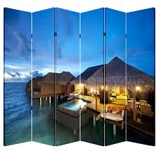Canvas Room Divider 6 Panel Folding Screen Canvas Room Divider Tiki Hut Free Shipping