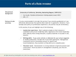 Marketing Achievements Resume Examples by Bain Resume Sample