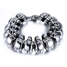 mens skull bracelet images Stainless steel linked biker skull bracelet mens jpg