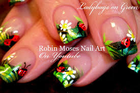 sunflower ladybug summer nail art design tutorial sunflower