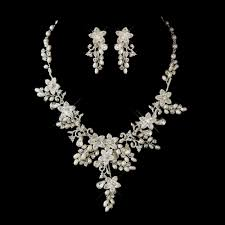 wedding jewelry glamorous pearl rhinestone floral bridal jewelry sets