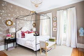 feminine bedroom with glam touches and silk wallpaper digsdigs