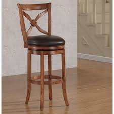brown wooden tall bar stool with back and round black leather seat