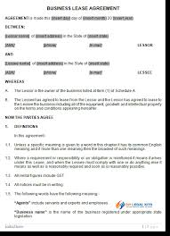 australian business lease agreement template
