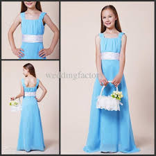 light blue square junior bridesmaid dresses young girls party