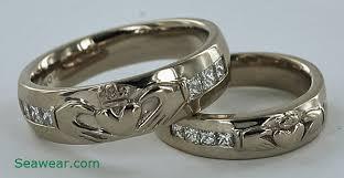 claddagh wedding ring set princess cut diamond claddagh wedding band