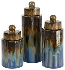 frazier antique blue brown gold canisters set of 3 ceramic decor