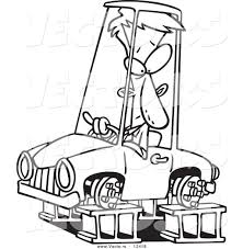 cartoon car drawing vector of a cartoon man in a tireless car on blocks coloring