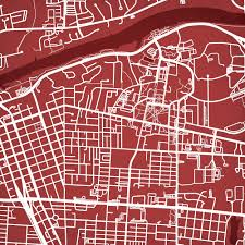 Uark Campus Map University Of Alabama Campus Map Art City Prints