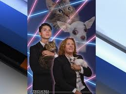 cat yearbook ny school principal joins laser cat for yearbook photo shoot