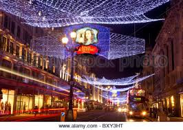 Christmas Decorations London Cheap by Christmas Lights And Decorations In Regent Street London Stock