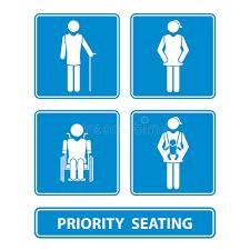sedere di uomo segno della disposizione dei posti a sedere di priorità