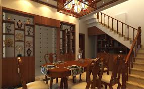 3d dining room wine cabinet stairs and chinese lamps 3d house