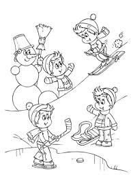 boy and dog playing snow winter coloring pages for kids winter