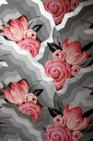 grey wallpaper with red flowers 1930s art deco wallpaper rugs pinterest 1930s wallpaper and