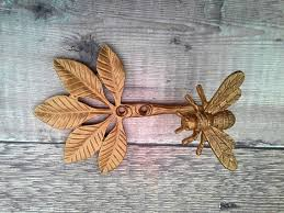 golden gold busy bee wall coat hook curtain tie back pewter