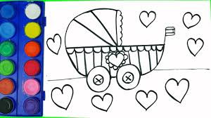 drawing baby carriage coloring pages and coloring rabbits easter