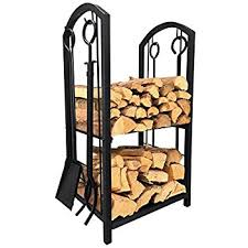 fireplace log rack with 4 tools indoor outdoor
