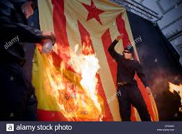 Flag Burning Protest Catalan Separatists Burn A Spanish Flag During The Celebrations Of