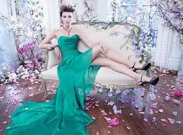 lazaro bridesmaid dresses strapless emerald green chiffon high low waist