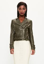 Peace Love Khaki Faux Leather Quilted Biker Jacket Missguided