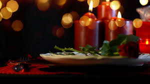 valentine romantic table setting close up with moving golden bokeh