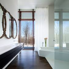 delectable natural lighting in interior in bathroom with dark