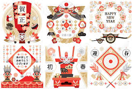 japanese style new year s card japanese style illustration design image material
