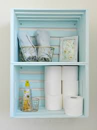 Storage For Bathroom by Blue Wooden Crate Storage Create Bathroom Storage With Wooden