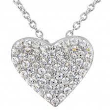 cubic zirconia heart necklace images Crislu cubic zirconia pave heart necklace in sterling silver jpg
