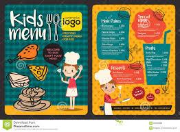 cute colorful kids meal menu template stock vector image 62909888