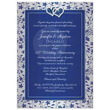 Silver Anniversary Invitation Cards 25th Wedding Anniversary Invitation 2 Royal Blue Silver Floral