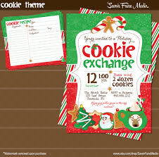 holiday cookie exchange invitation and cookie recipe card