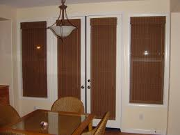 venetian blinds for sliding glass doors interior traditional brown striped patterned roller up curtain