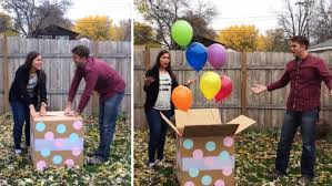gender reveal balloons in a box gender reveal party goes hilariously wrong as box contains medley