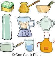 objets de cuisine objets cuisine silhouettes objets isolé apparenté clip