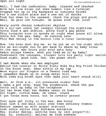 Backyard Party Lyrics Bruce Springsteen Song Open All Night Lyrics