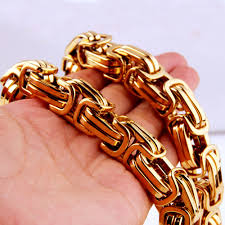 mens byzantine necklace gold images Charming 7 40 quot huge heavy 316l stainless steel gold color jpg
