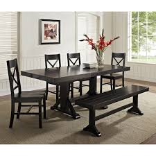 dining room dark wood table and bench we furniture solid black