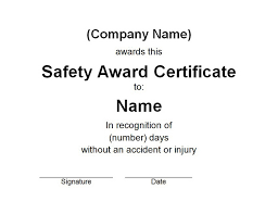 certificate free templates safety award certificate free word templates customizable wording