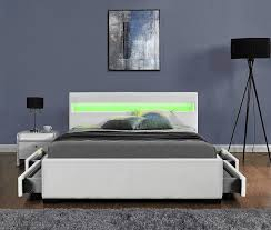 Bedside Table Height Relative To Bed Harmin Bluetooth Music Storage Led Faux Leather Bed Single