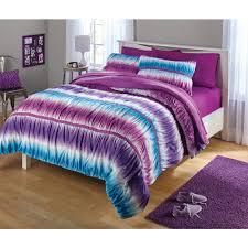 Girls Striped Bedding by Kids Bedding Set Room Comforter Sham Ruched Tie Dye Printed Purple