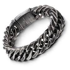 mens black link bracelet images Vintage black stainless steel bracelet men fashion rhombus chain jpg