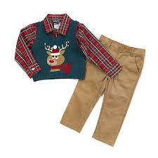 baby boy 12 24m boys rock reindeer sweater vest set boscov s