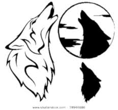drawn howling wolf simple pencil and in color drawn howling wolf